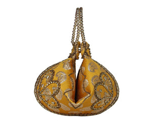 Golden Silk Brocade Bangle Potli Purse
