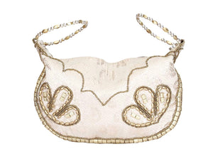 Ivory Silk Brocade Bangle Potli Purse