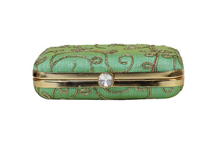 Sea Green Zari Embroidered Clutch