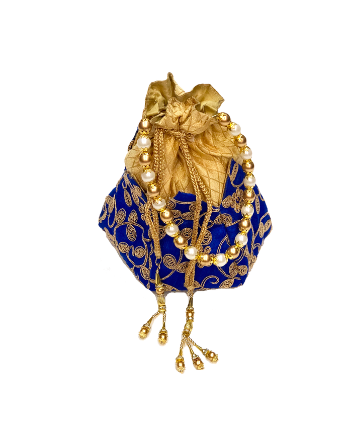 Royal Blue Lotus Shape Potli Bag