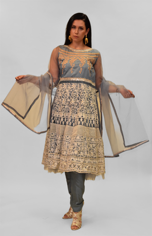 Silk Plummett Gray Embroidered Salwar Kameez