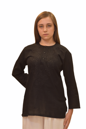 Cotton Crow Black Embroidered Short Tunic