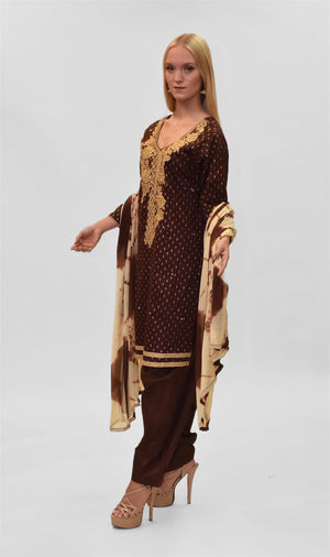 Cotton Silk Embroidered Syrup Brown Salwar Kameez