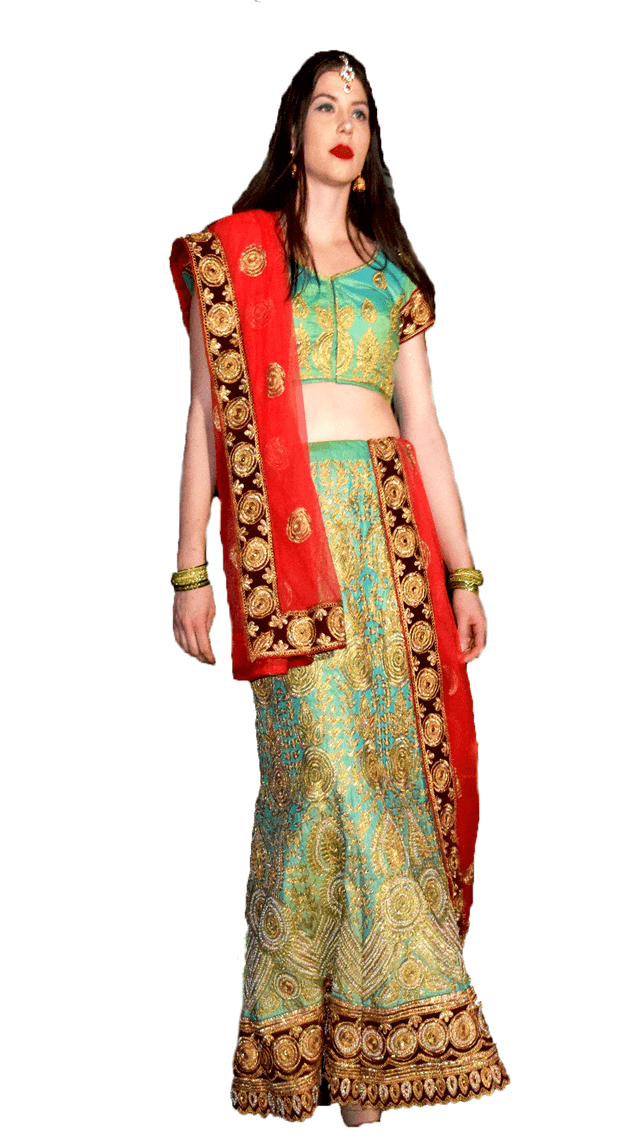 Sea Green and Orange Lehenga