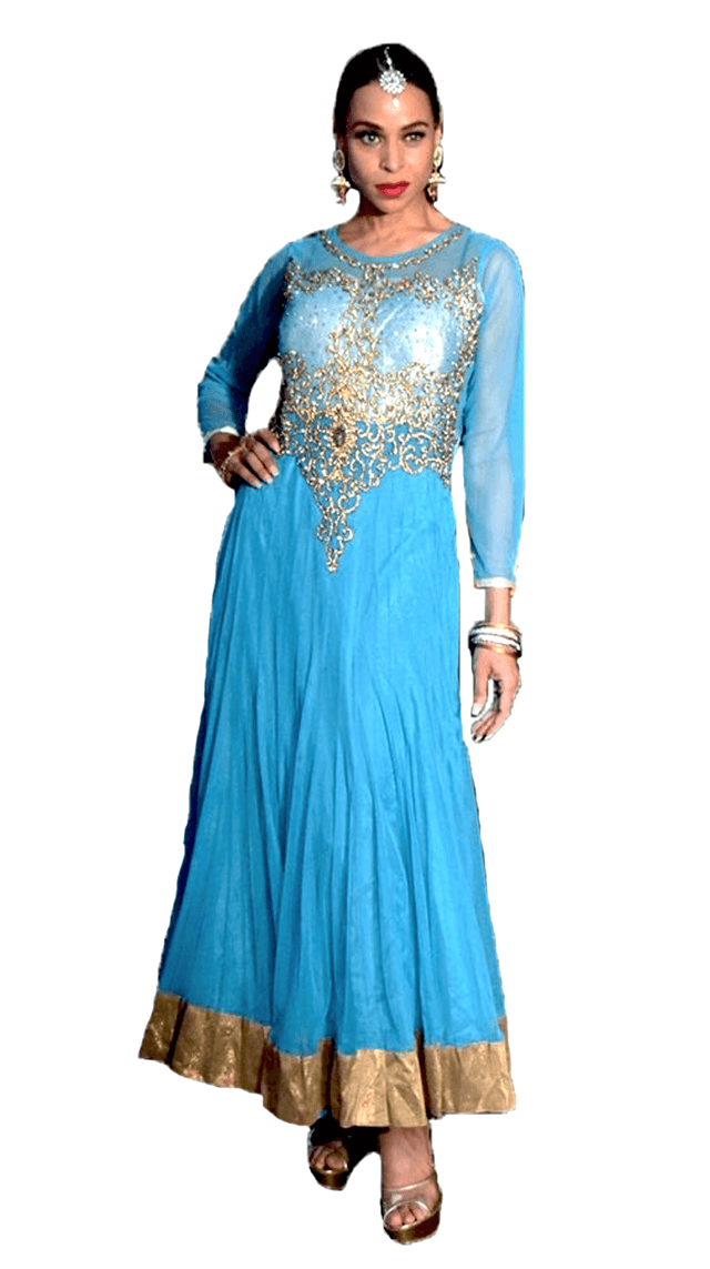 Sky Blue and Gold Anarkali