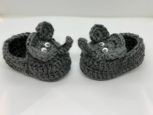 Crochet Iron Grey Elephant Baby Booties