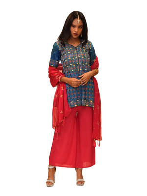 Silk Yale Blue Embroidered Short Kurti