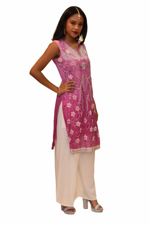Silk Two Toned Taffy Pink Embroidered Kurti