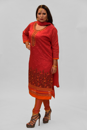 Silk Cerise Pink Embroidered Salwar Kameez