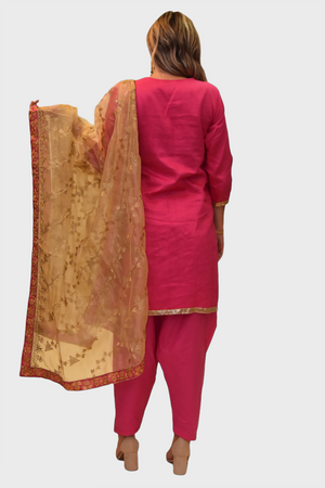 Silk Bubblegum Pink Embroidered Salwar Kameez