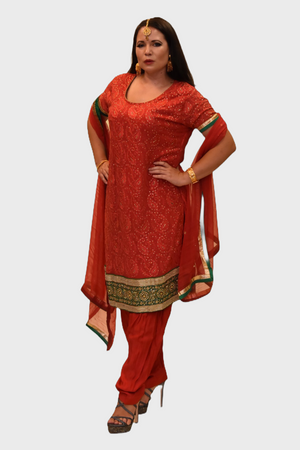 Georgette Silk Crimson Red Embroidered Salwar Kameez