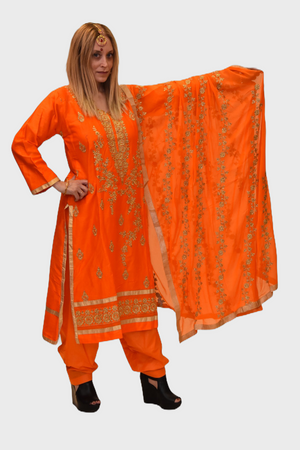 Cotton Silk Pumpkin Orange Embroidered Salwar Kameez