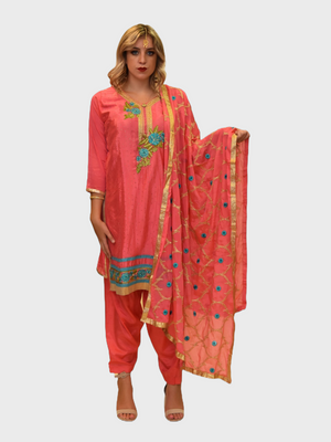 Silk Punch Pink Embroidered Salwar Kameez