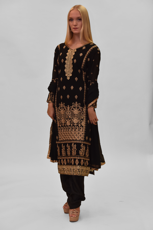 Silk Black Embroidered Salwar Kameez