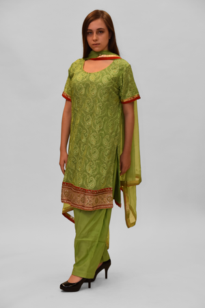 Georgette Silk Ocado Green Embroidered Salwar Kameez