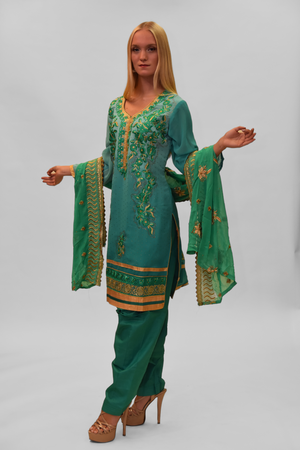 Silk Georgette Two Tone Jungle Green Embroidered Salwar Kameez