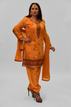 Cotton Silk Fire Yellow Embroidered Salwar Kameez