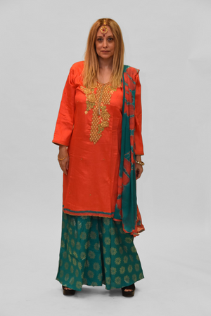 Cotton Silk Portland Orange Embroidered Sharara Suit
