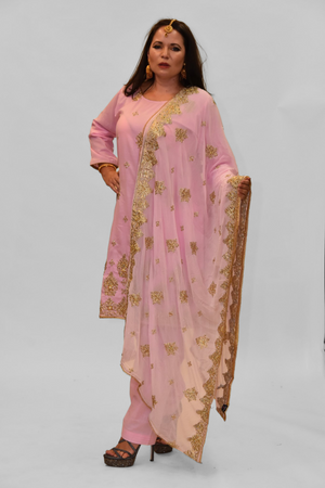 Silk Lemonade Pink Embroidered Salwar Kameez
