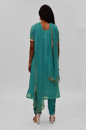 Silk Georgette Vista Blue Embroidered Salwar Kameez