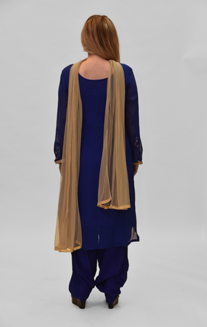 Silk Georgette Persian Blue Embroidered Salwar Kameez