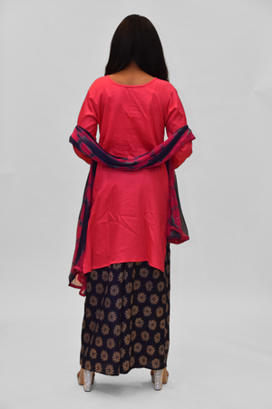 Cotton Silk Hot Pink Embroidered Sharara Suit