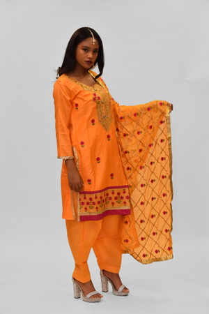 Silk Tangerine Orange Embroidered Salwar Kameez