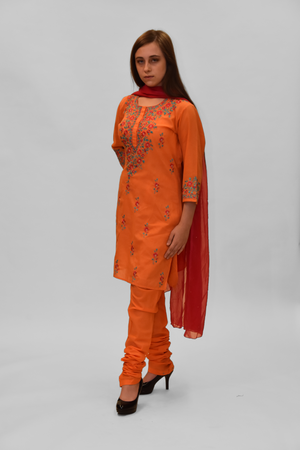 Cotton Silk Deep Carrot Orange Embroidered Salwar Kameez