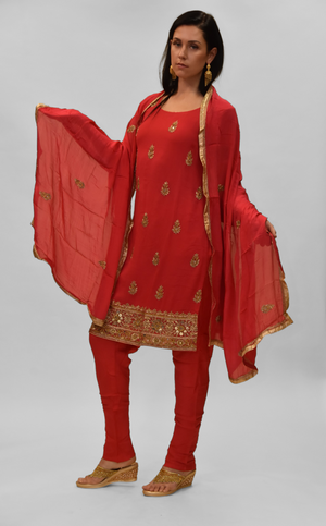 Silk Georgette Imperial Red Embroidered Salwar Kameez