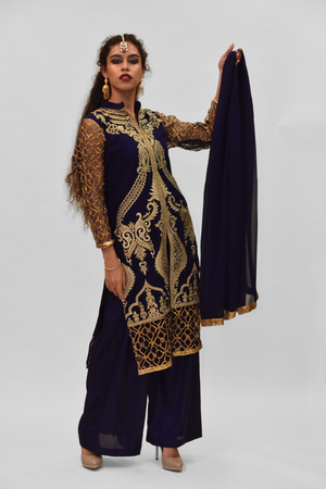 Silk Georgette Oxford Blue Embroidered Salwar Kameez