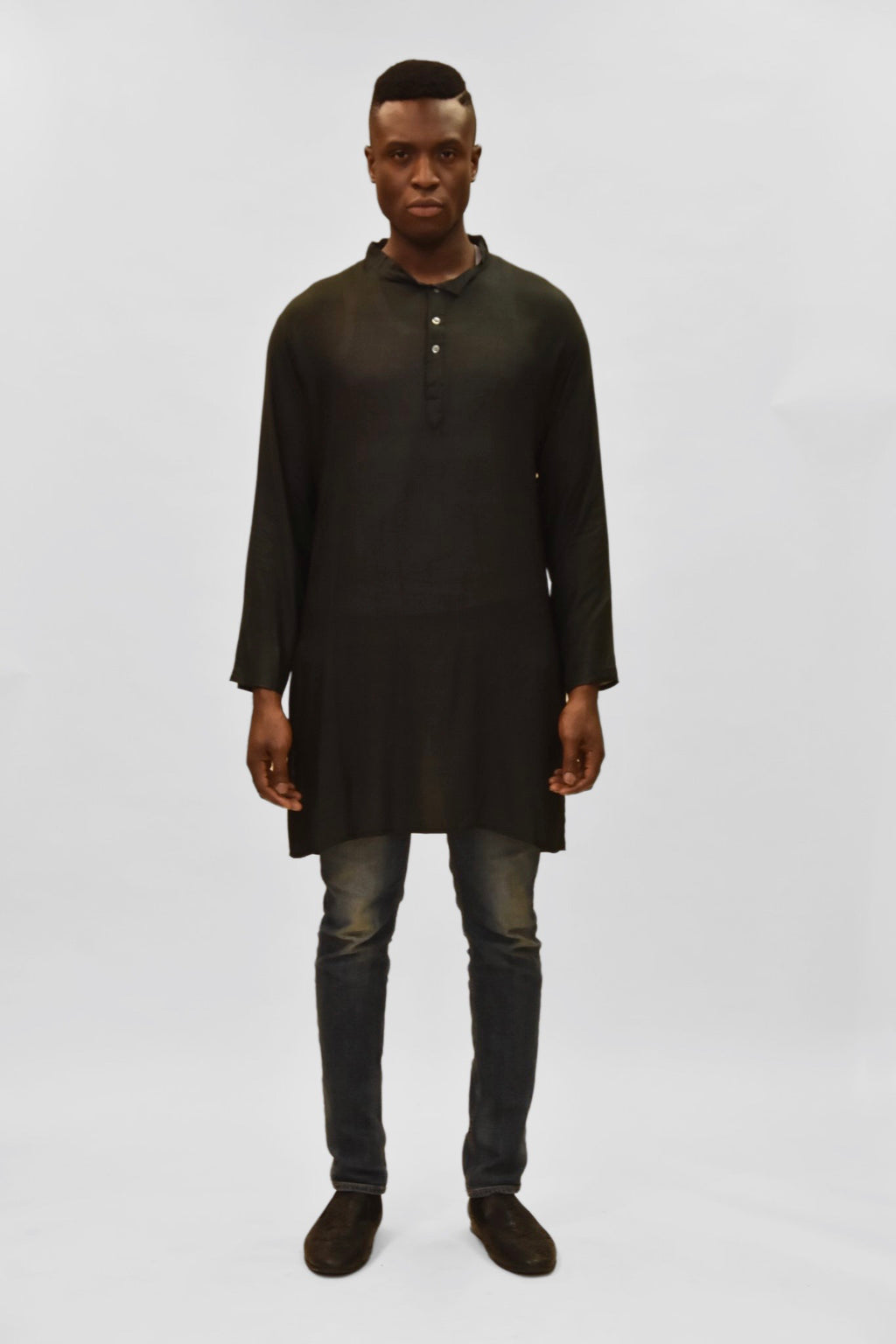 Soft Cotton Knee Length Metal Black Kurta