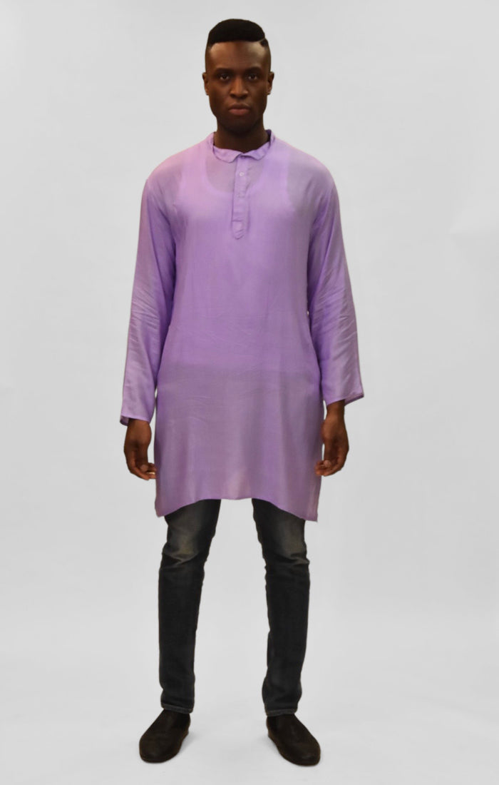 Soft Cotton Knee Length Periwinkle Purple Kurta