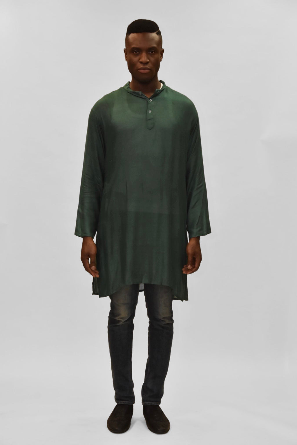 Soft Cotton Knee Length Land Rover Green Kurta