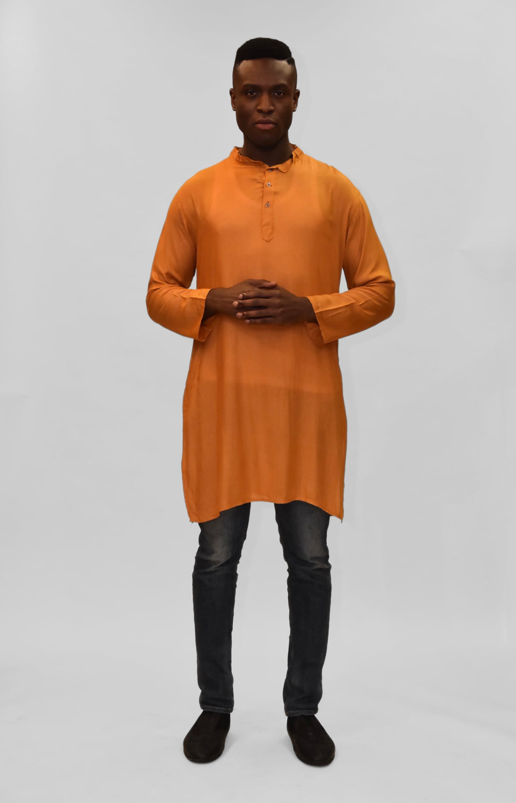 Soft Cotton Knee Length Squash Orange/ Gold Kurta