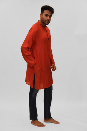 Soft Cotton Knee Length Persian Red Kurta