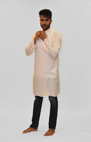 Soft Cotton Knee Length Pearl White Kurta