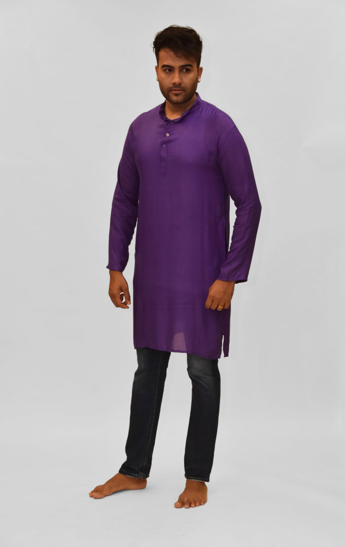 Soft Cotton Knee Length Irish Purple Kurta