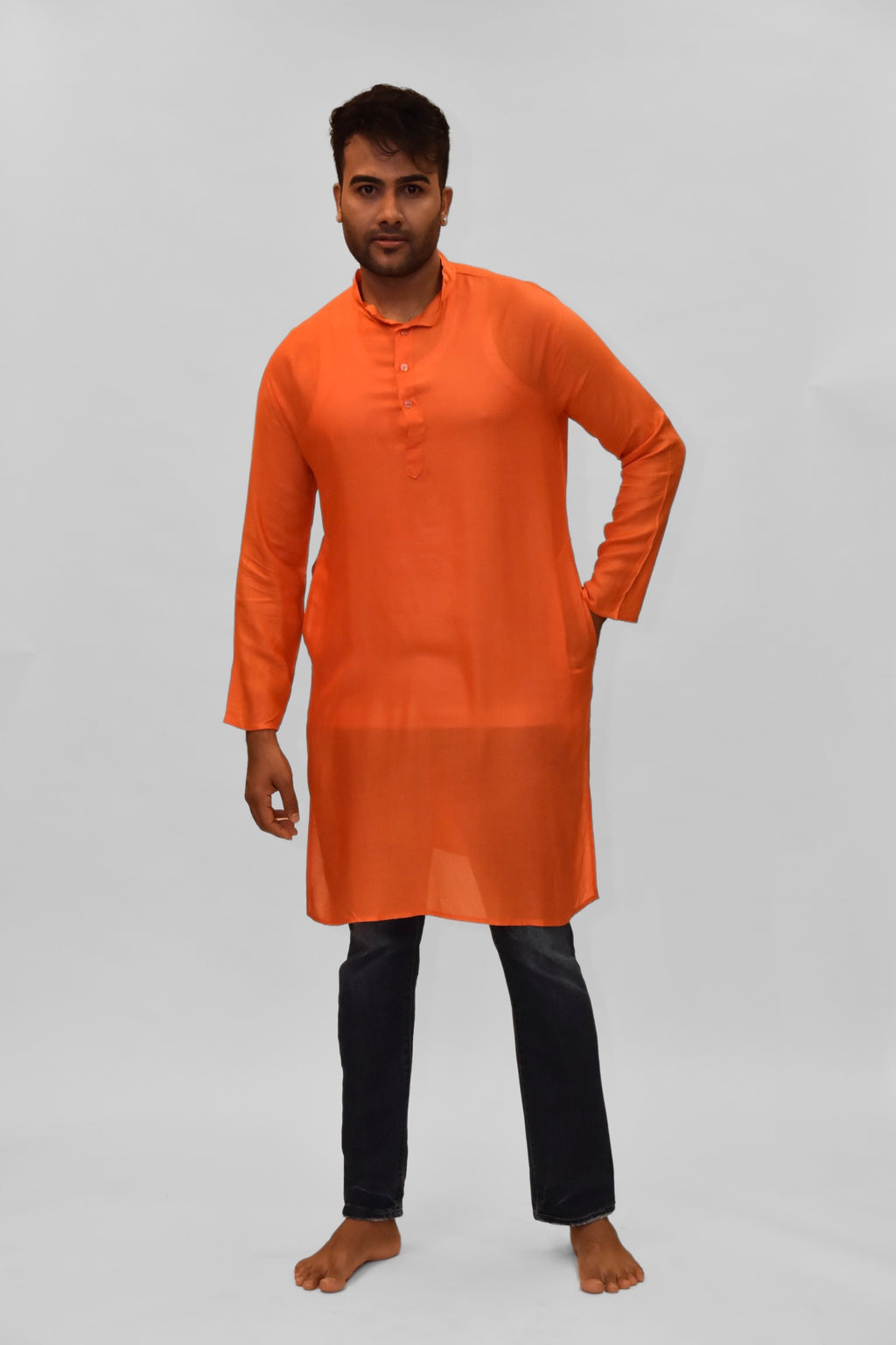 Soft Cotton Knee Length Tiger Orange Kurta
