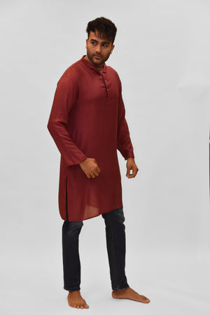 Soft Cotton Knee Length Sangria Red Kurta