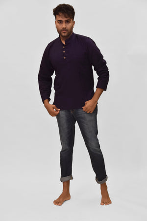 Cotton Eggplant Purple Short Kurta