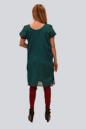 Silk Pine Green With Gold & Raspberry Purple Embroidered Kurti