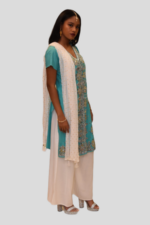 Cotton Silk Tiffany Blue Embroidered Kurti
