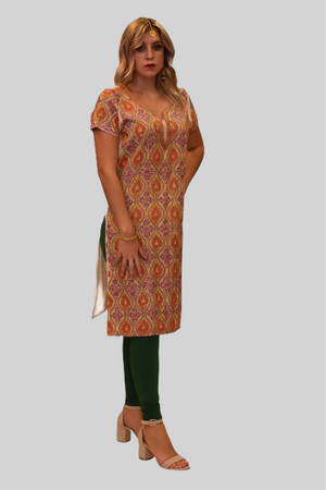 Silk Ivory Cream With Tiger Orange & Mulberry Purple Embroidered Kurti