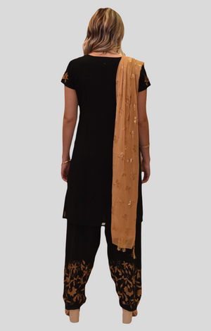 Silk Cotton Blend Spider Black Gold Embroidered Kurti