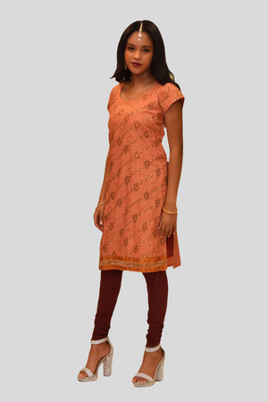 Silk Peach Pink Embroidered Kurti