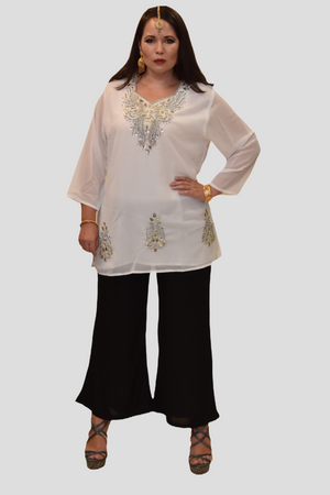 Cotton Chiffon Kelly Moore White Embroidered Short Kurti