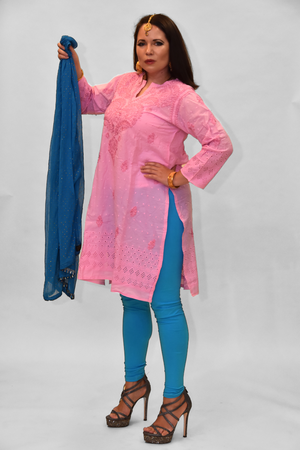 Cotton Flamingo Pink Embroidered Kurti