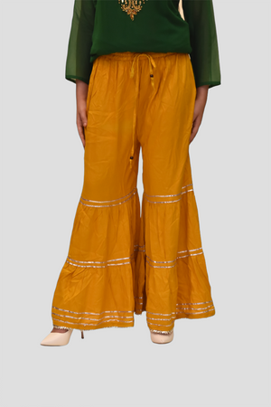 Cotton Silk Fire Yellow Sharara pants