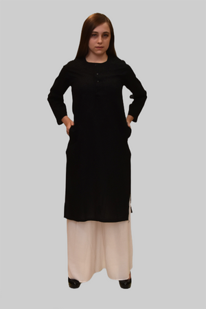 Cotton Crow Black Embroidered Kurti