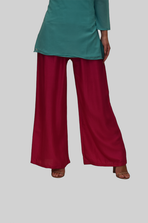 Cotton Silk Wild Berry Pink Palazzo pants